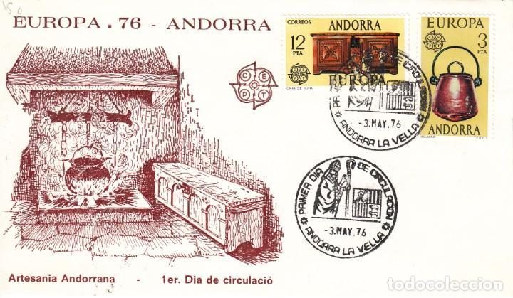 SOBRE: 1976 ANDORRA LA VELLA. EUROPA - ARTESANIA ANDORRANA (Sellos - Historia Postal - Sello Español - Sobres Primer Día y Matasellos Especiales)