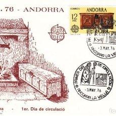 Sellos: SOBRE: 1976 ANDORRA LA VELLA. EUROPA - ARTESANIA ANDORRANA. Lote 202640676