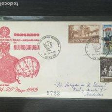 Sellos: OVIEDO - CONGRESO SOCIEDA LUSO-ESPAÑOLA DE NEUROCIRUGIA - SOBRE PRIMER DÍA MATASELLOS ESPECIAL 1963. Lote 262342525