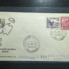 Selos: PALMA DE MALLORCA I EXPOSICIÓN FILATÉLICA BALEAR - SOBRE PRIMER DÍA MATASELLOS ESPECIAL 1949. Lote 203922687