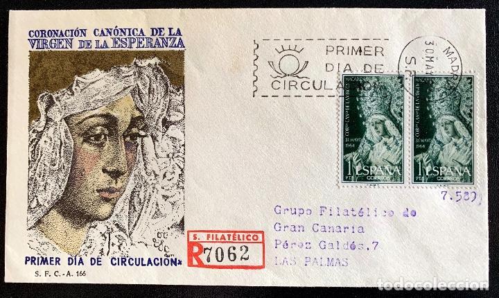 1964. SOBRE PRIMER DIA CORONACION VIRGEN ESPERANZA. CIRCULADO MADRID-LAS PALMAS (Sellos - Historia Postal - Sello Español - Sobres Primer Día y Matasellos Especiales)
