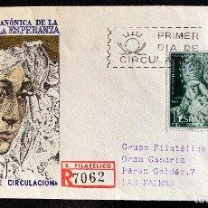 Sellos: 1964. SOBRE PRIMER DIA CORONACION VIRGEN ESPERANZA. CIRCULADO MADRID-LAS PALMAS. Lote 204606166