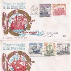 Sellos: BARCOS HOMENAJE A LA MARINA ESPAÑOLA 1964 (EDIFIL 1599/12) EN CINCO RAROS SPD CIRCULADOS ALFIL. MPM.. Lote 204653951
