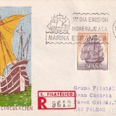 Sellos: BARCOS HOMENAJE A LA MARINA ESPAÑOLA 1964 (EDIFIL 1604/05) EN SPD CIRCULADO SERVICIO FILATELICO. MPM. Lote 204654693
