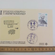 Sellos: TARJETA MATASELLOS I EXPOSICION LOTEROFILICA DE LA HISPANIDAD MADRID 1982. Lote 205138551