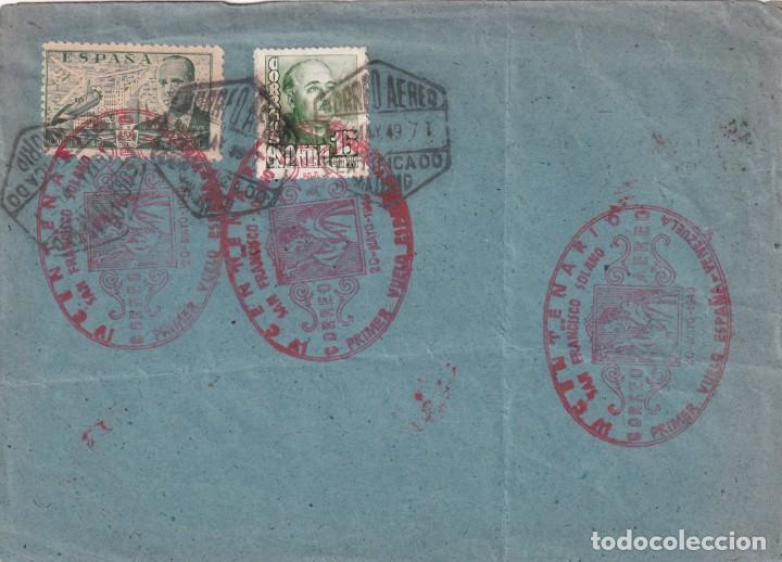 MARCA AEREA SAN FRANCISCO SOLANO IV CENTENARIO PRIMER VUELO ESPAÑA-VENEZUELA 1949 EN SOBRE RARO. MPM (Sellos - Historia Postal - Sello Español - Sobres Primer Día y Matasellos Especiales)