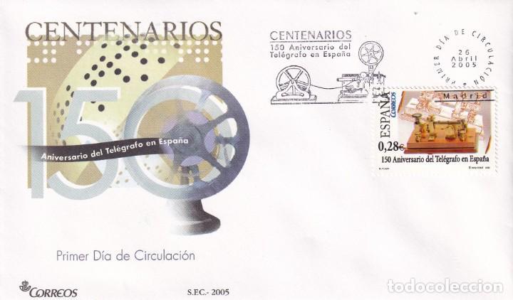 TELEGRAFO EN ESPAÑA 150 ANIVERSARIO CENTENARIOS 2005 (EDIFIL 4162) EN SPD SERVICIO FILATELICO. MPM. (Sellos - Historia Postal - Sello Español - Sobres Primer Día y Matasellos Especiales)