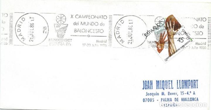 1986. MADRID. RODILLO/SLOGAN. X CAMPEONATO DEL MUNDO DE BALONCESTO. BASKETBALL. DEPORTES/SPORTS. (Sellos - Historia Postal - Sello Español - Sobres Primer Día y Matasellos Especiales)