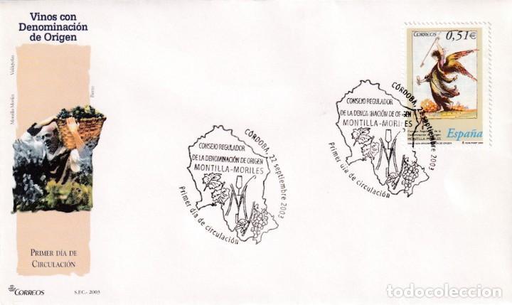 VINO MONTILLA-MORILES VINOS DENOMINACION DE ORIGEN 2003 (EDIFIL 4016) SPD DEL SFC MATASELLOS CORDOBA (Sellos - Historia Postal - Sello Español - Sobres Primer Día y Matasellos Especiales)
