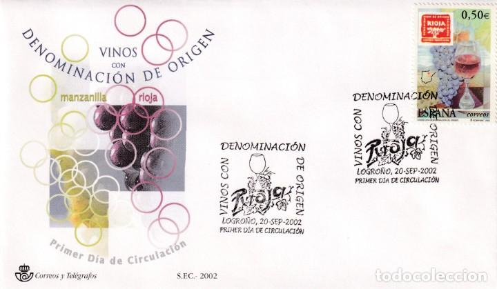 VINO RIOJA VINOS CON DENOMINACION DE ORIGEN 2002 (EDIFIL 3910) RARO SPD DEL SFC MATASELLOS LOGROÑO. (Sellos - Historia Postal - Sello Español - Sobres Primer Día y Matasellos Especiales)