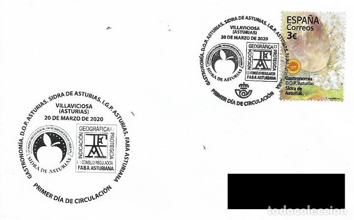 ESPAÑA. SOBRE PRIMER DIA. SIDRA ASTURIANA. VILLAVICIOSA. 2020 (Sellos - Historia Postal - Sello Español - Sobres Primer Día y Matasellos Especiales)