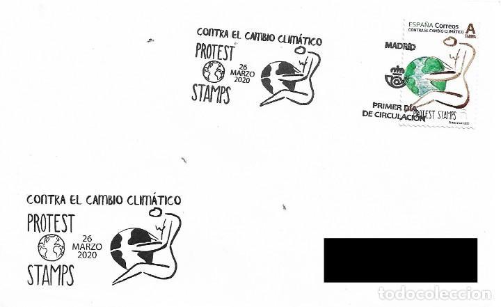 ESPAÑA. SOBRE PRIMER DIA. PROTEST STAMP. CONTRA EL CAMBIO CLIMATICO. 2020 (Sellos - Historia Postal - Sello Español - Sobres Primer Día y Matasellos Especiales)