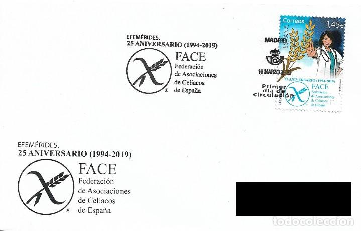 ESPAÑA. SOBRE PRIMER DIA. 25 ANIVERSARIO FEDERACION DE ASOCIACIONES DE CELIACOS DE ESPAÑA. 2020 (Sellos - Historia Postal - Sello Español - Sobres Primer Día y Matasellos Especiales)
