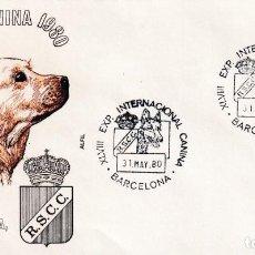 Sellos: PERROS XLVIII EXPOSICION INTERNACIONAL CANINA, BARCELONA 1980. RARO MATASELLOS EN SOBRE DE ALFIL.. Lote 206483418
