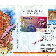 Sellos: AEROGRAMA CIRCULADO CON MATASELLO DE AVION BILBAO 1996. Lote 206488687