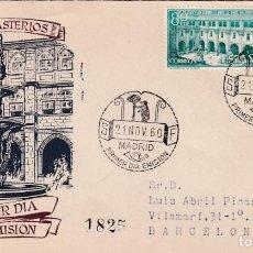 Sellos: REAL MONASTERIO DE SAMOS LUGO 1960 (EDIFIL 1322/23) EN SPD CIRCULADO DEL SERVICIO FILATELICO. RARO.. Lote 206565990