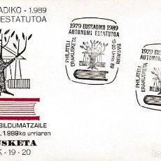 Sellos: ESTATUTO DE AUTONOMIA DEL PAIS VASCO X ANIV, BASAURI (VIZCAYA) 1989. MATASELLOS EN SOBRE ILUSTRADO.. Lote 206568136