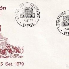 Sellos: CIUDAD ENCANTADA XII EXPOSICION FILATELICA, CUENCA 4 SEPTIEMBRE 1979. RARO MATASELLOS EN SOBRE ALFIL. Lote 206572386