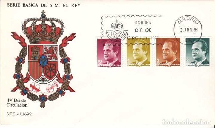 3 SOBRES: 1986 MADRID. SERIE BASICA DE S.M. EL REY (Sellos - Historia Postal - Sello Español - Sobres Primer Día y Matasellos Especiales)