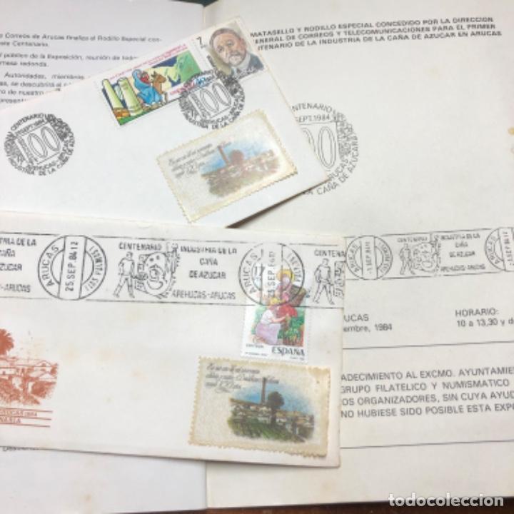 Sellos: 1984 2 sobres con matasellos Industria caña de azúcar Destilerías Arehucas de Gran Canaria y libro - Foto 3 - 206822366