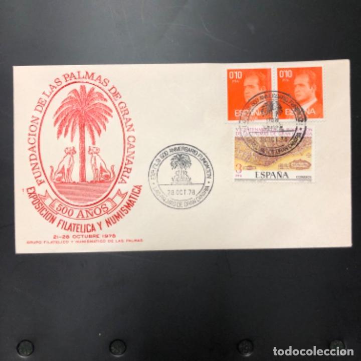 1978 SOBRE Y MATASELLOS DE LOS 500 AÑOS DE LA FUNDACIÓN DE LAS PALMAS DE GRAN CANARIA. (Sellos - Historia Postal - Sello Español - Sobres Primer Día y Matasellos Especiales)