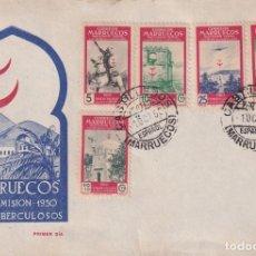 Sellos: MARRUECOS PRO TUBERCULOSOS 1950 (EDIFIL 325/29) EN SOBRE PRIMER DIA SIN CIRCULAR DE ET. RARO ASI.. Lote 198019365