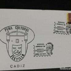 Sellos: TARJETA. PEÑA CULTURAL CARNAVALESCA. FLETILLA. CADIZ. 1998.. Lote 206938761