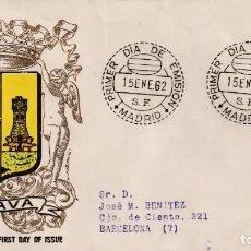 Sellos: ESCUDO DE ALAVA 1962 MATASELLOS MADRID (EDIFIL 1406) EN SOBRE PRIMER DIA CIRCULADO DE ALFIL RARO MPM. Lote 207033865