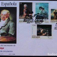 Sellos: PINTURA ESPAÑOLA GOYA. SOBRE 1ER DIA CIRCULACIÓN. 31-5-1996 Y DOCUMENTO FILATÉLICO Nº 39.. Lote 173269635
