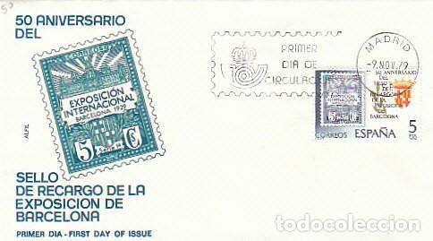 EDIFIL 2549, SELLO RECARGO DE EXPOSICION BARCELONA, PRIMER DIA DE 9-11-1979 SOBRE DE ALFIL (Sellos - Historia Postal - Sello Español - Sobres Primer Día y Matasellos Especiales)