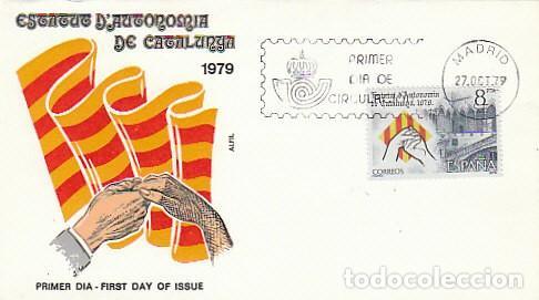 EDIFIL 2546, ESTATUTO DE AUTONOMIA CATALUÑA, PRIMER DIA DE MADRID DE 27-10-1979 SOBRE DE ALFIL (Sellos - Historia Postal - Sello Español - Sobres Primer Día y Matasellos Especiales)