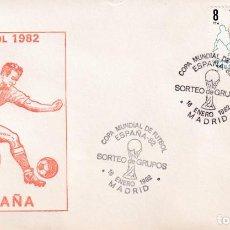 Sellos: FUTBOL SORTEO DE GRUPOS MUNDIAL ESPAÑA 82, MADRID 1982. MATASELLOS EN SOBRE DE FILOSSA. RARO ASI.. Lote 210189886