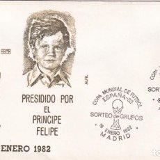 Sellos: FUTBOL SORTEO DE GRUPOS MUNDIAL ESPAÑA 82, MADRID 1982. MATASELLOS EN SOBRE DE ALFIL PRINCIPE FELIPE. Lote 210190428