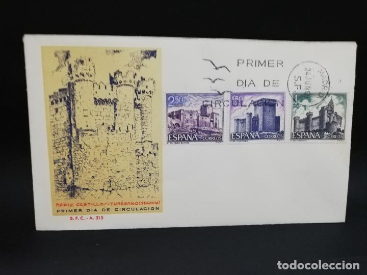 SOBRE PRIMER DIA. CASTILLOS TUREGANO, SEGOVIA. MADRID. 1969. (Sellos - Historia Postal - Sello Español - Sobres Primer Día y Matasellos Especiales)