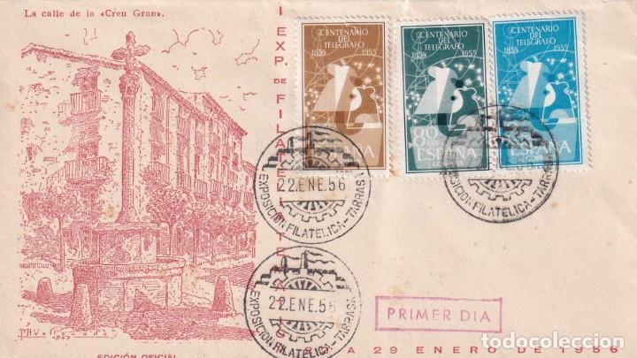 I EXPOSICION, TARRASA (BARCELONA) 1956. MATASELLOS SOBRE EO SERIE D. RARO FRANQUEO (EDIFIL 1180/82). (Sellos - Historia Postal - Sello Español - Sobres Primer Día y Matasellos Especiales)