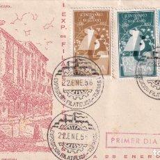 Sellos: I EXPOSICION, TARRASA (BARCELONA) 1956. MATASELLOS SOBRE EO SERIE D. RARO FRANQUEO (EDIFIL 1180/82).. Lote 210193007