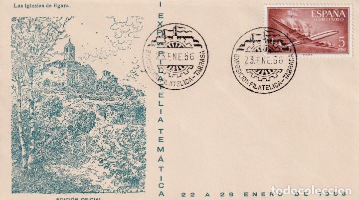 I EXPOSICION FILATELICA, TARRASA (BARCELONA) 1956. MATASELLOS EN SOBRE EO SERIE C IGLESIAS DE EGARA. (Sellos - Historia Postal - Sello Español - Sobres Primer Día y Matasellos Especiales)