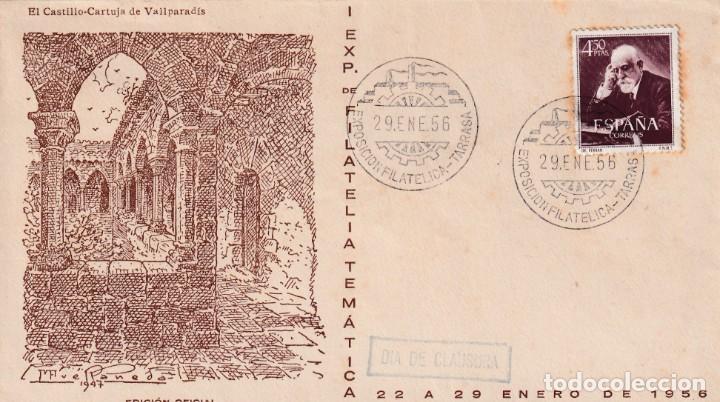 I EXPOSICION FILATELICA, TARRASA (BARCELONA) 1956. MATASELLOS EN SOBRE EO SERIE A CARTUJA VALPARADIS (Sellos - Historia Postal - Sello Español - Sobres Primer Día y Matasellos Especiales)
