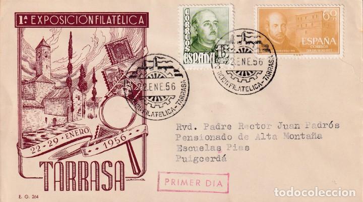 I EXPOSICION FILATELICA, TARRASA (BARCELONA) 1956. MATASELLOS EN SOBRE CIRCULADO EG IGLESIA. RARO. (Sellos - Historia Postal - Sello Español - Sobres Primer Día y Matasellos Especiales)