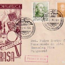 Sellos: I EXPOSICION FILATELICA, TARRASA (BARCELONA) 1956. MATASELLOS EN SOBRE CIRCULADO EG IGLESIA. RARO.. Lote 210193343