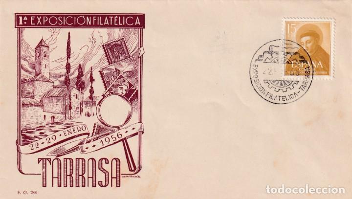I EXPOSICION FILATELICA, TARRASA (BARCELONA) 1956. MATASELLOS EN SOBRE SIN CIRCULAR EG IGLESIA. RARO (Sellos - Historia Postal - Sello Español - Sobres Primer Día y Matasellos Especiales)