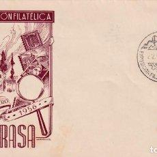 Sellos: I EXPOSICION FILATELICA, TARRASA (BARCELONA) 1956. MATASELLOS EN SOBRE SIN CIRCULAR EG IGLESIA. RARO. Lote 210193627