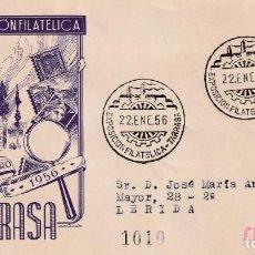 Sellos: I EXPOSICION FILATELICA, TARRASA (BARCELONA) 1956. MATASELLOS EN SOBRE CIRCULADO DP IGLESIA. RARO.. Lote 210193777