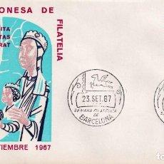 Sellos: RELIGION VISITA A MONTSERRAT SEMANA FILATELICA DE BARCELONA 1967. MATASELLOS EN RARO SOBRE ILUSTRADO. Lote 210303268