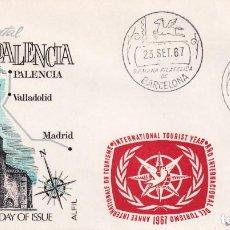 Sellos: RARA MARCA AÑO INTERNACIONAL TURISMO EN SOBRE PALENCIA MATASELLOS SEMANA FILATELICA BARCELONA 1967.. Lote 210303618
