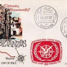 Sellos: RARA MARCA AÑO INTERNACIONAL TURISMO EN SOBRE BETANZOS MATASELLOS SEMANA FILATELICA BARCELONA 1967.. Lote 210303677