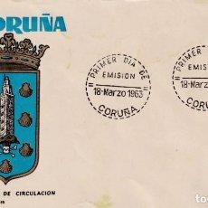 Sellos: ESCUDO DE LA CORUÑA 1963 MATASELLOS PROVINCIA (EDIFIL 1483) EN SOBRE PRIMER DIA DE MS. RARO ASI.. Lote 210563595