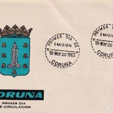 Sellos: ESCUDO DE LA CORUÑA 1963 MATASELLOS PROVINCIA (EDIFIL 1483) EN SOBRE PRIMER DIA DE ARRONIZ.. Lote 210563626