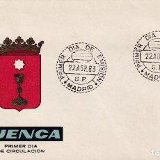 Sellos: ESCUDO DE CUENCA 1963 MATASELLOS MADRID (EDIFIL 1484) EN SOBRE PRIMER DIA DE ARRONIZ. MPM.. Lote 210563925