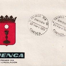 Sellos: ESCUDO DE CUENCA 1963 MATASELLOS PROVINCIA (EDIFIL 1484) EN SOBRE PRIMER DIA DE ARRONIZ. MPM.. Lote 210564180